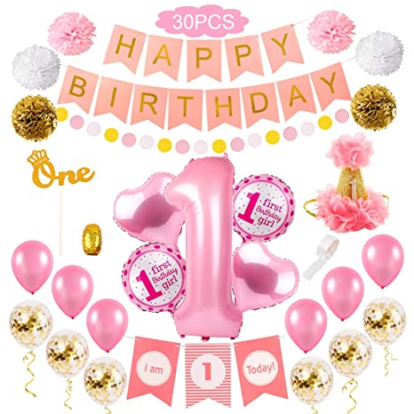 Amazoncom First Girl Birthday Party Decorations 1st Birthday