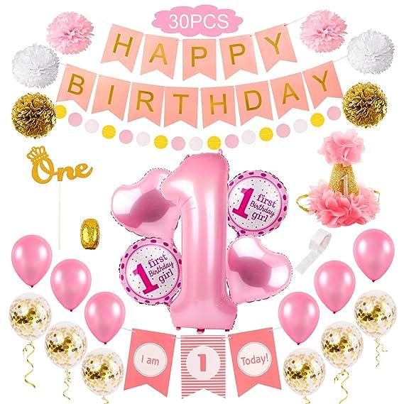 Amazon.com: Decoración para fiesta de primer cumpleaños para ...