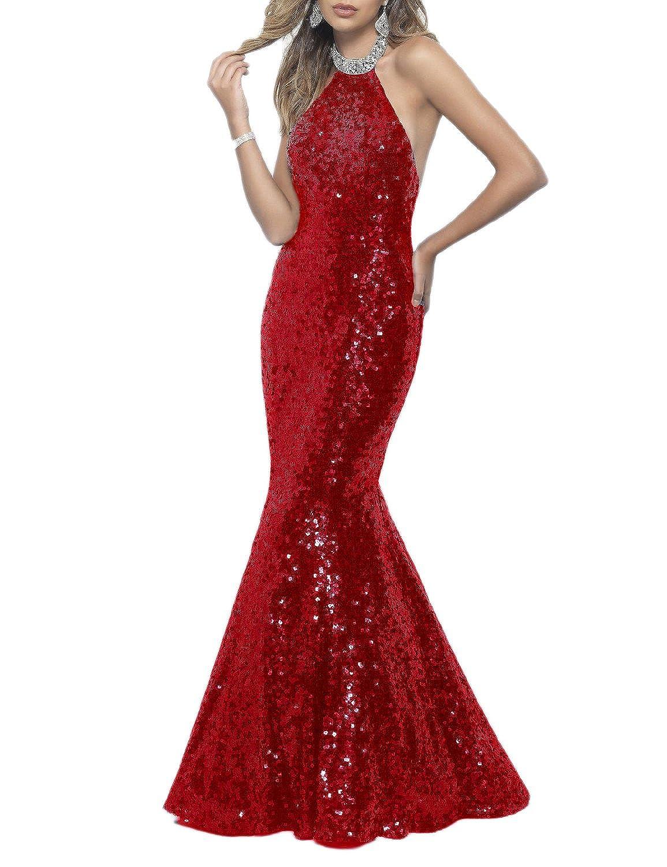 313ed39b89b Amazon.com  OYISHA Womens Halter Backless Prom Dresses Long Sequins Sexy  Evening Dress EV13  Clothing