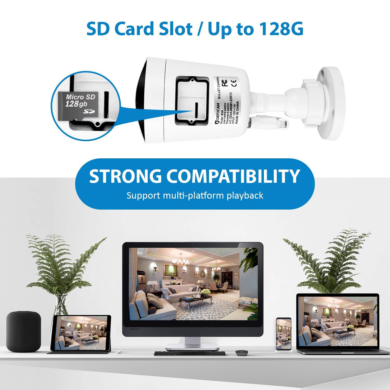 Blanco Ranura para Tarjeta de Memoria Externa Disponible B2C C/ámara de Seguridad Externa inal/ámbrica Dericam Full HD 1080P con Lente de Cristal 3MP HD