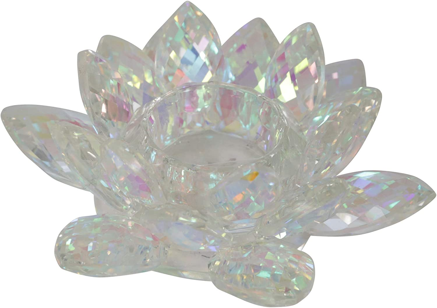 "Sagebrook Home 13211-14 Glass Candle Holder, 6"" x 6"" x 2.25"", Rainbow"