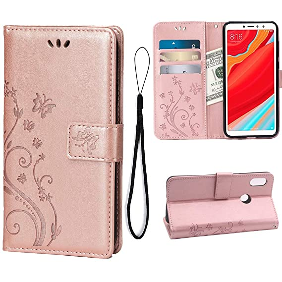 on sale 040eb 4ad49 Wallet Case for Xiaomi Redmi S2/Redmi Y2, 3 Card Holder Embossed Butterfly  Flower PU Leather Magnetic Flip Cover for Xiaomi Redmi S2/Redmi Y2(Rose ...
