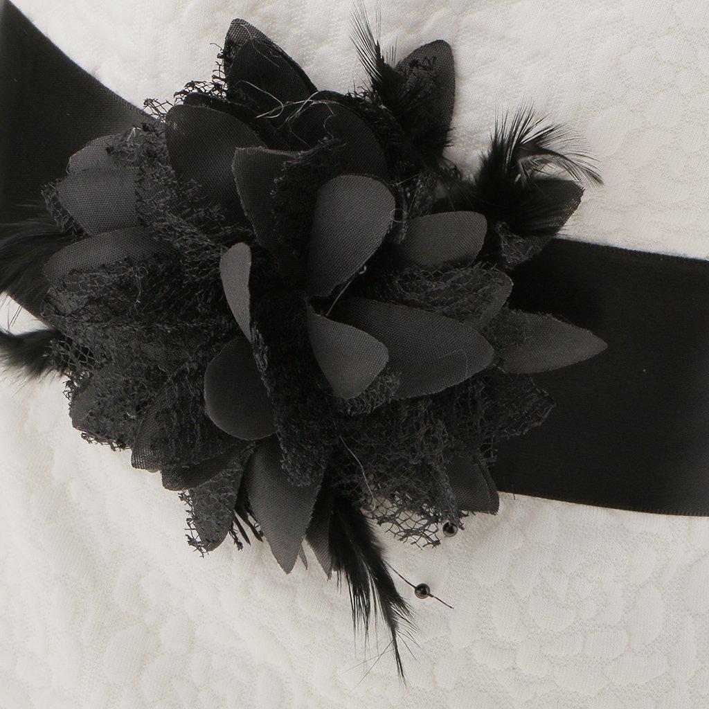 Desconocido Accesorios de Novia Boda Cintur/ón de Vestido Manera Partido Flor Pluma Faja Color Negro