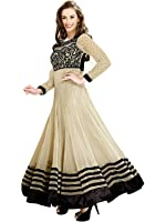Param Creation Women's Cream Georgette Anarkali Unstitched Dress Material PC1015 …