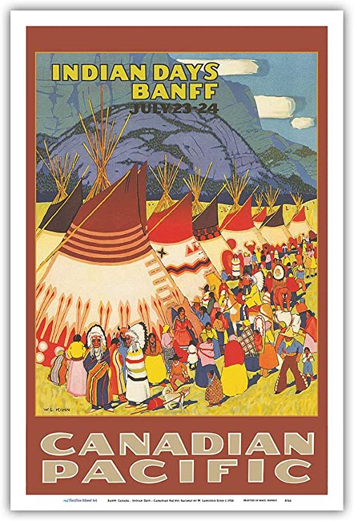 Banff 12in x 18in Canadian Pacific Railway Master Art Print Vintage Railroad Travel Poster by W Indian Days Langdon Kihn c.1926 Pacifica Island Art Canada