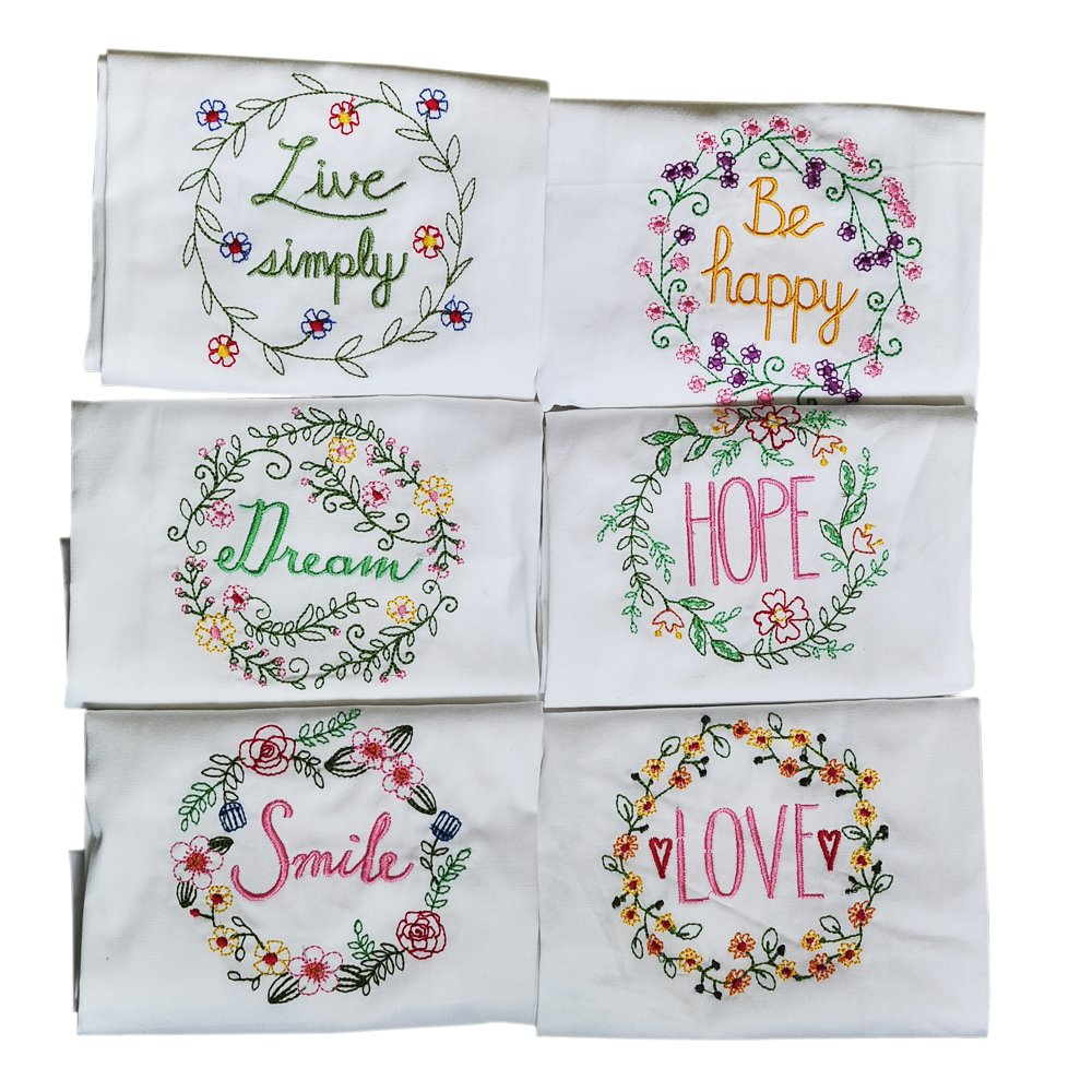 100% Cotton Dinner Napkins White - 17''x27''-Set of 6 Style Table Linen Cloth with flower embroidery , Kitchen Dish Tea Towels for Wedding Party Birthday Shower or Everyday Use