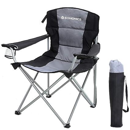 SONGMICS Silla de Camping Plegable XL, con Asiento Acolchado de Esponja, Grande y Cómoda, Estructura Duradera, MAX. Capacidad de Carga 150 Kg, Silla ...