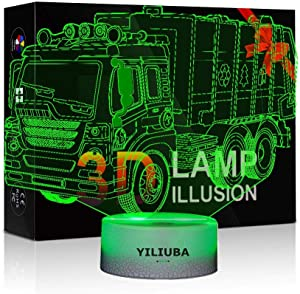 YILIUBA Car Gift Night Lights for Kids 3D Illusion Lamp LED Desk Lamps for Boys Decor Bedroom Room USB Plugs 7 Color Gradual Changing Truck Light or Birthday Xmas Party Festival Decor Children Gifts