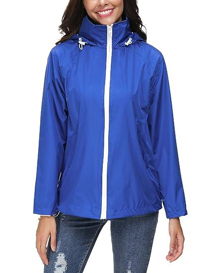 Genhoo Damen Leichte Regenjacke Wasserdicht Regenmantel Outdoor  Atmungsaktive Dünne Wasserdicht Winddicht ÜBergangsjacke c3022f53f0