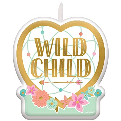 amscan 172106 Wild Child 6cm x 6.6cm-1 Pc, Candle Birthday Boho Birthday Girl: Toys & Games