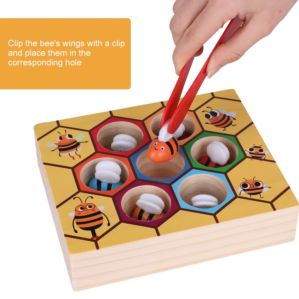 GLOGLOW Wooden Fun Bee Picking Catching Practices Toy Kids Hand Grasping Training Beehive Box Games Early Educational Props