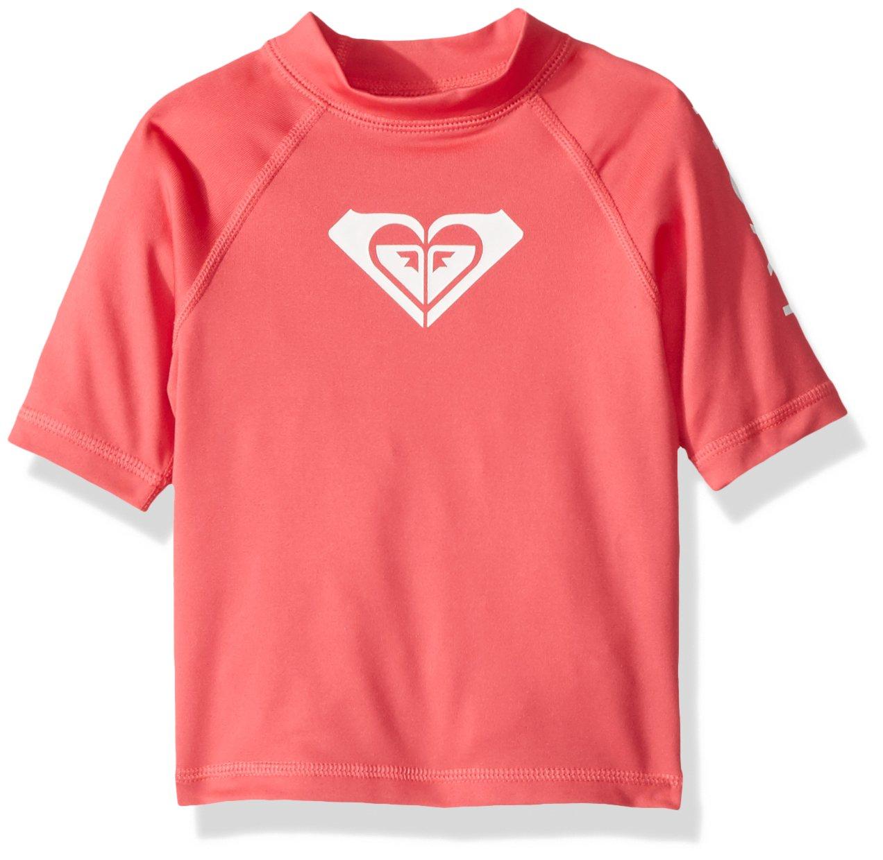 Roxy Toddler Girls' Whole Hearted Short Sleeve Rashguard, Rouge red, 2