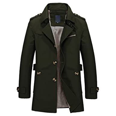 shop for genuine presenting exclusive deals WSLCN Mens Casual Lightweight Jacket Short Trench Coat Turn Down Collar  Long Sleeve
