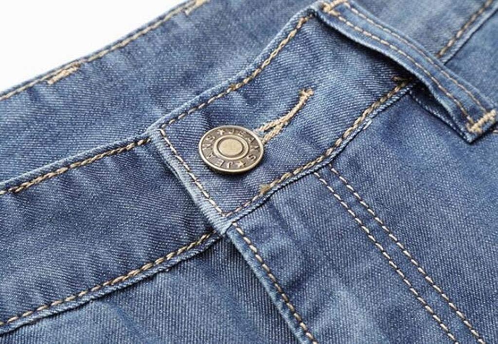 Suncolor8 Mens Straight Leg Casual Mid Waist Plus Size Relaxed Fit Jeans Denim Pants