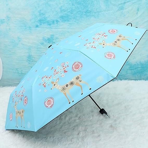 WJCGX Mode Élan Fleur Ouverte Trois-Violet Parapluie Extérieur Vinyle UV Protection Lunettes De Soleil Dame Soleil Protection Parapluie,Blue