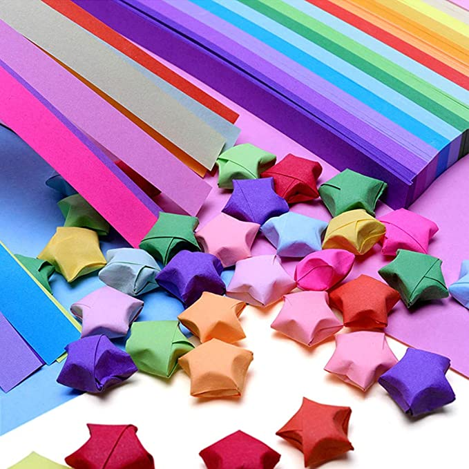 425 Sheets Luminous Origami Stars Paper Kit Stars Folding Paper Strips Glows in The Dark Decoration Paper Strips DIY Hand Art Crafts