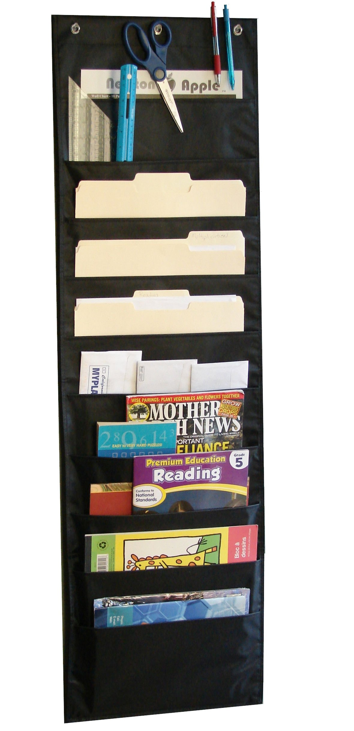 Hanging Paper Organizer & Wall File Holder - Premium Double Stitched Classroom Pocket Chart for Cubicle Office School Organization – Flat & Vertical Cascading Black 10 Pockets | Newton Y Apple by Newton Y Apple (Image #2)