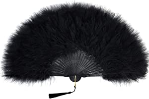 BABEYOND Roaring 20s Vintage Style Folding Handheld Flapper Marabou Feather Hand Fan for Costume Halloween Dancing Party Tea Party Variety Show (Black-Black Rib)