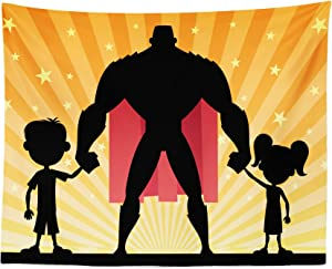 Lunarable Superhero Tapestry, Silhouette of Father Son and Daughter Super Dad with Cape on Stars, Fabric Wall Hanging Decor for Bedroom Living Room Dorm, 28