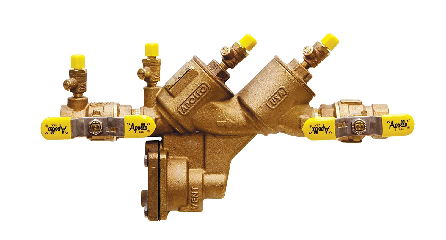 Apollo 4A50502F Bronze Freeze Resistant Pressure Vacuum Breaker with Ball Valve and SAE Threaded Test Cocks 1 Size