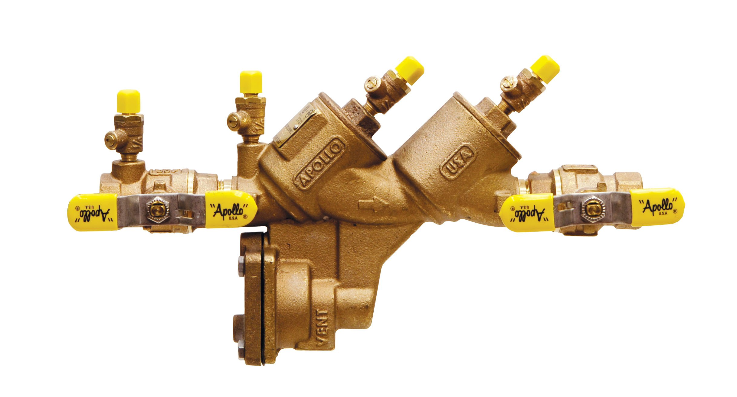 Apollo 4A204T2F Bronze Reduced Pressure Zone Valve with Ball Valve and SAE Threaded Test Cocks, 3/4'' Size
