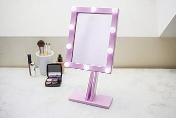 espejo de maquillaje con luces de hollywood iluminado