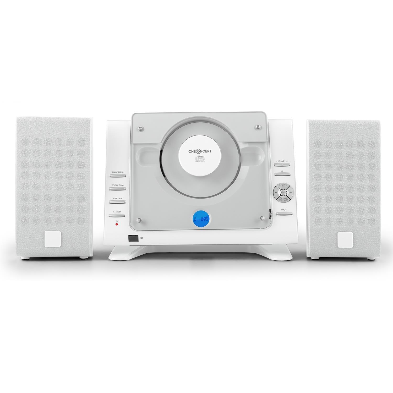 oneConcept Vertical 70 minicadena (Reproductor estéreo de CD, USB, MP3, AUX, Radio Am/FM, pie de Apoyo y Soporte para Pared, Mando a Distancia, ...