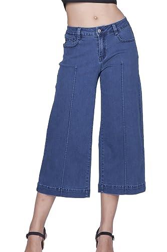 naafii Missy & Plus Size Basic Loose Wide Leg Capri Jeans Pants