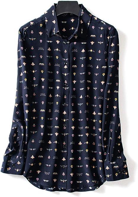 AIBAB Camisa De Seda De Manga Larga para Mujer. Ropa Exquisita De Gran Tamaño para Mujer. Top De Gasa Patrón De Insecto Solapa: Amazon.es: Deportes y aire libre