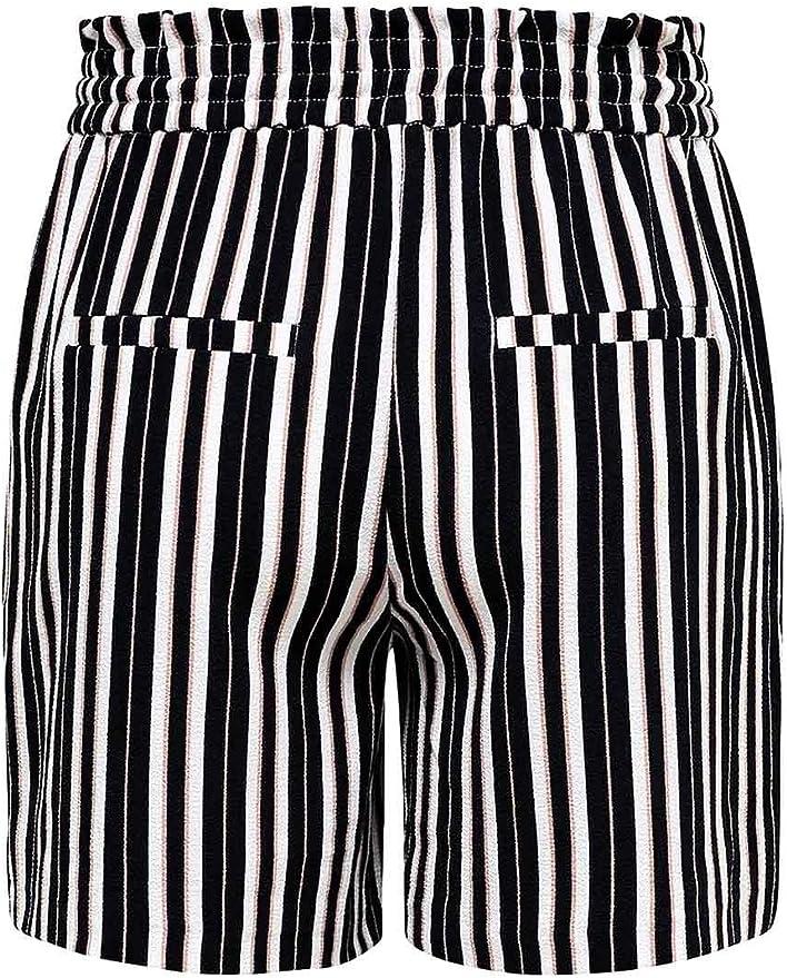 Only Shorts New Florence Donna Nero a Vita Alta con Pinces e Cinturino 15174156