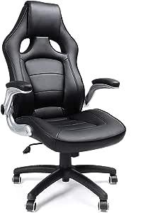 Songmics OBG62B Racingstoel, bureaustoel, gamingstoel, directiestoel, PU, zwart
