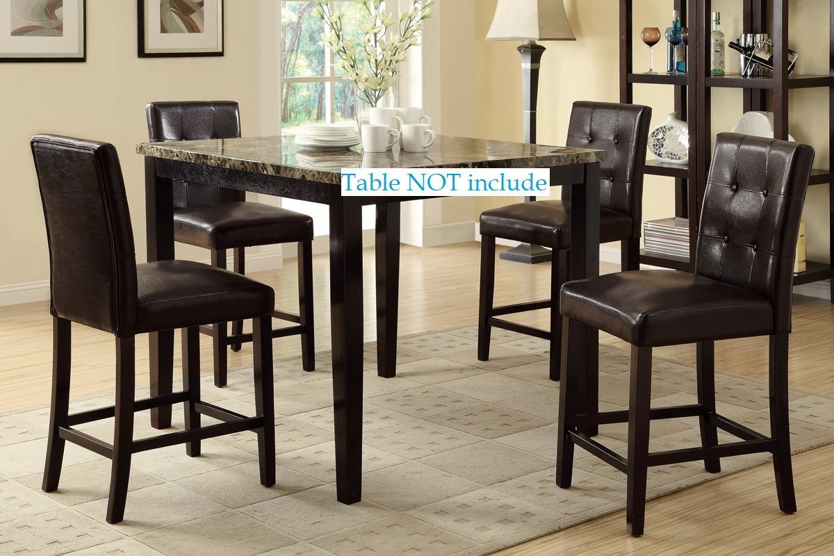 Set of 4 Counter Height Chairs with Faux Leather and Tuft Buttons (Espresso)