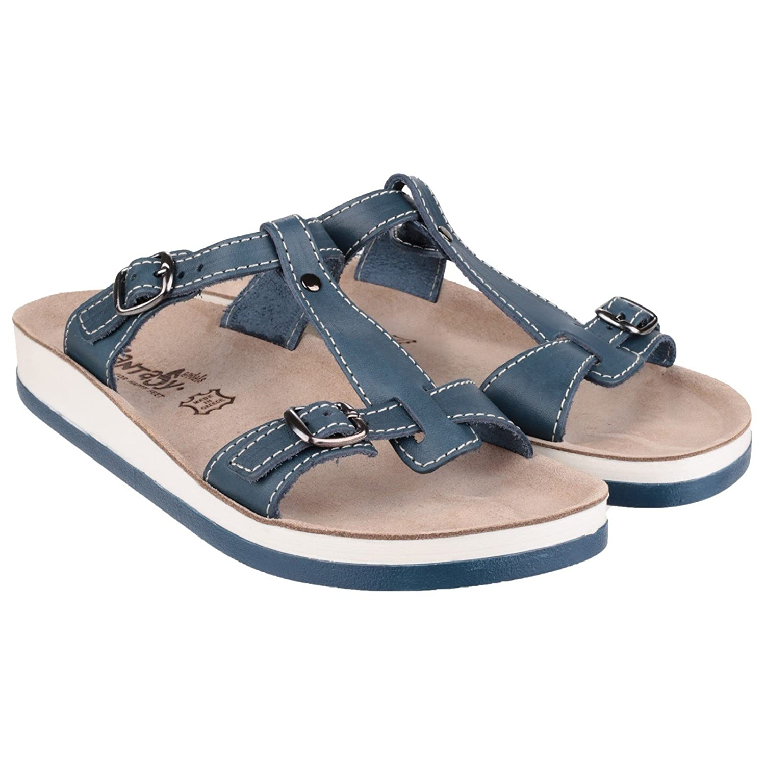 Fantasy Ladies Arillas Leather Metal Buckle Slide Sandal Navy WvYc5CO