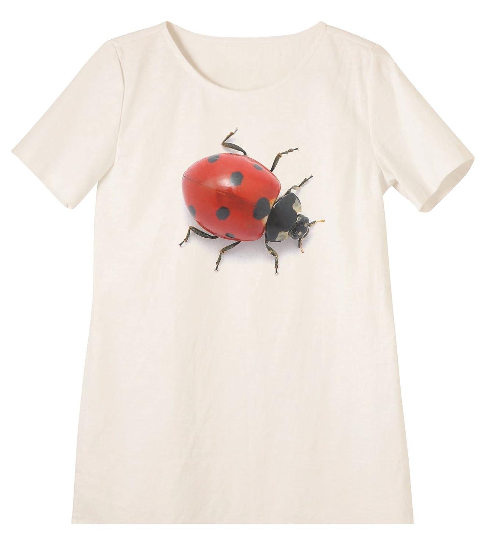 Ladybug Printed Linen Short Sleeves Vintage Mini Shift Dress WDS/_06 6