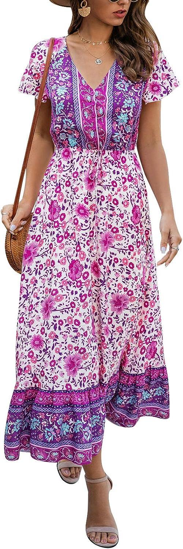 TEMOFON Women's Dresses Summer Bohemian Casual Short Sleeve Floral Print Maxi Dress S-2XL