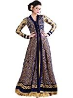 Divine International Women Multicolor Net gown with Embroidery work Semi-Stitched Suit (Div-B-1952_Blue_Free Size)