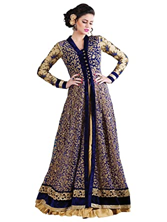 Divine International Women Multicolor Net gown with Embroidery work ...