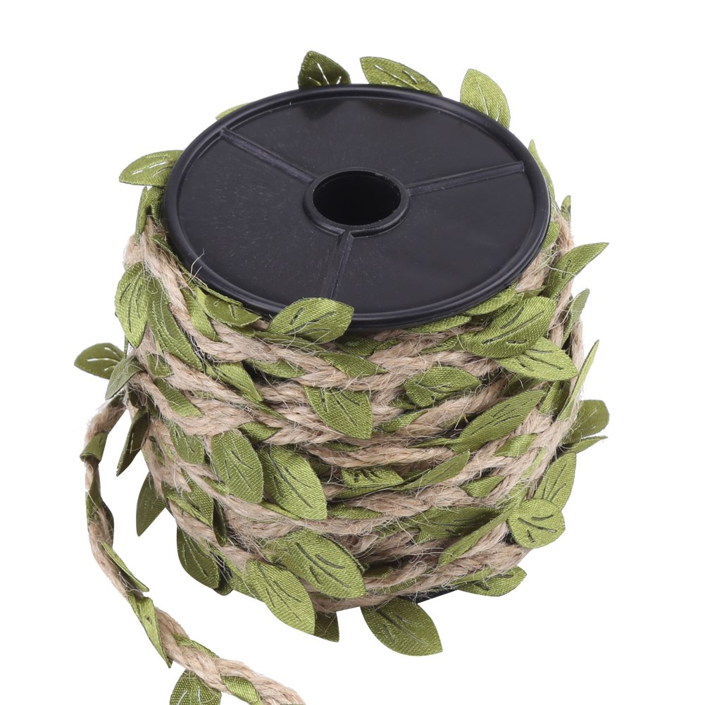 10M//Roll Artificial Green Leaves Hemp Wax Rope Beautiful Leaf Ribbon Mixed Knitting Rope for DIY Art /& Crafting Brown wax rope Wreath Christmas Rattan Accessories Home Wall Garden 5mm Natural Jute Twine Hemp Rope