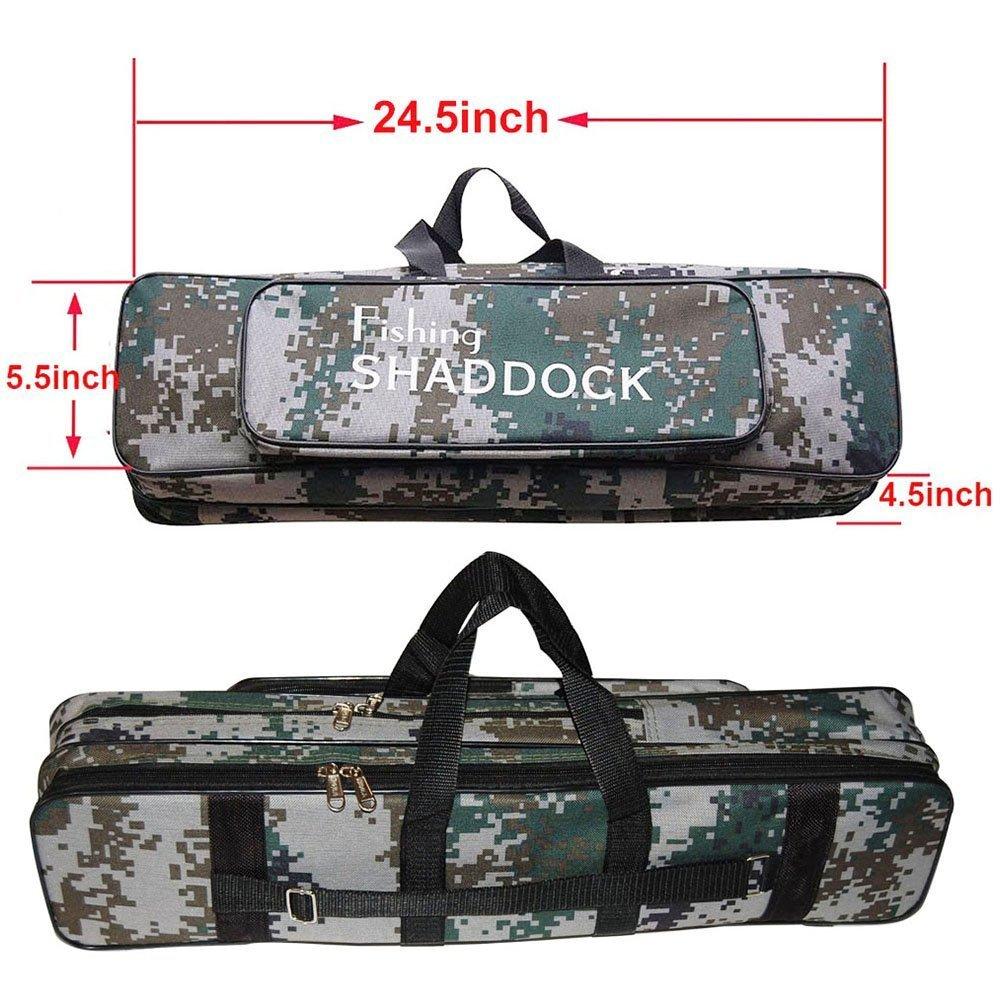 Shaddock pesca® 62cm/24.5-inch Oxford impermeable pesca Rod carrete bolsa para viaje organizador Tackle herramienta Gear bolsa de almacenamiento caso Shaddock Fishing