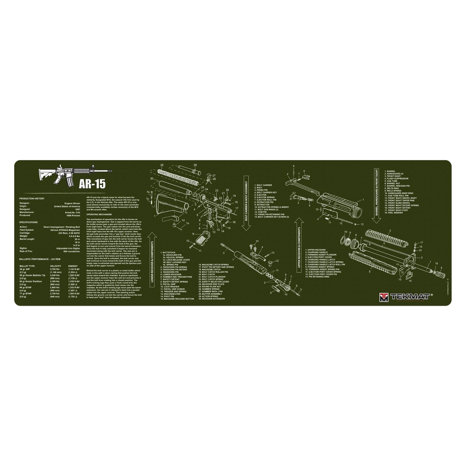 TekMat Gun Cleaning Mat for use with AR-15 - Olive