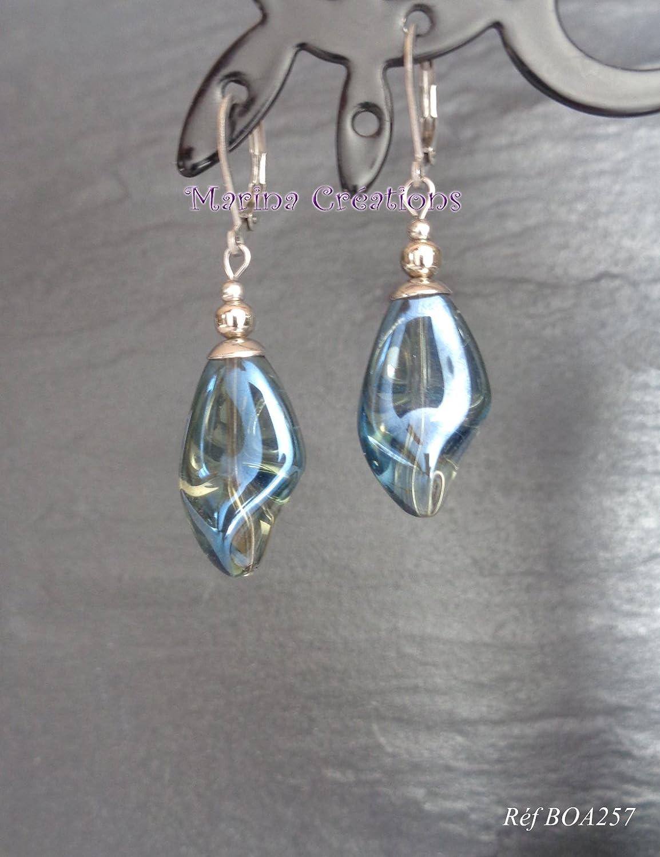 Edelstahl Ohrringe, blaue transparente Twisted Glasperlen, schicke, elegante Schnallen, Abend, Hochzeit