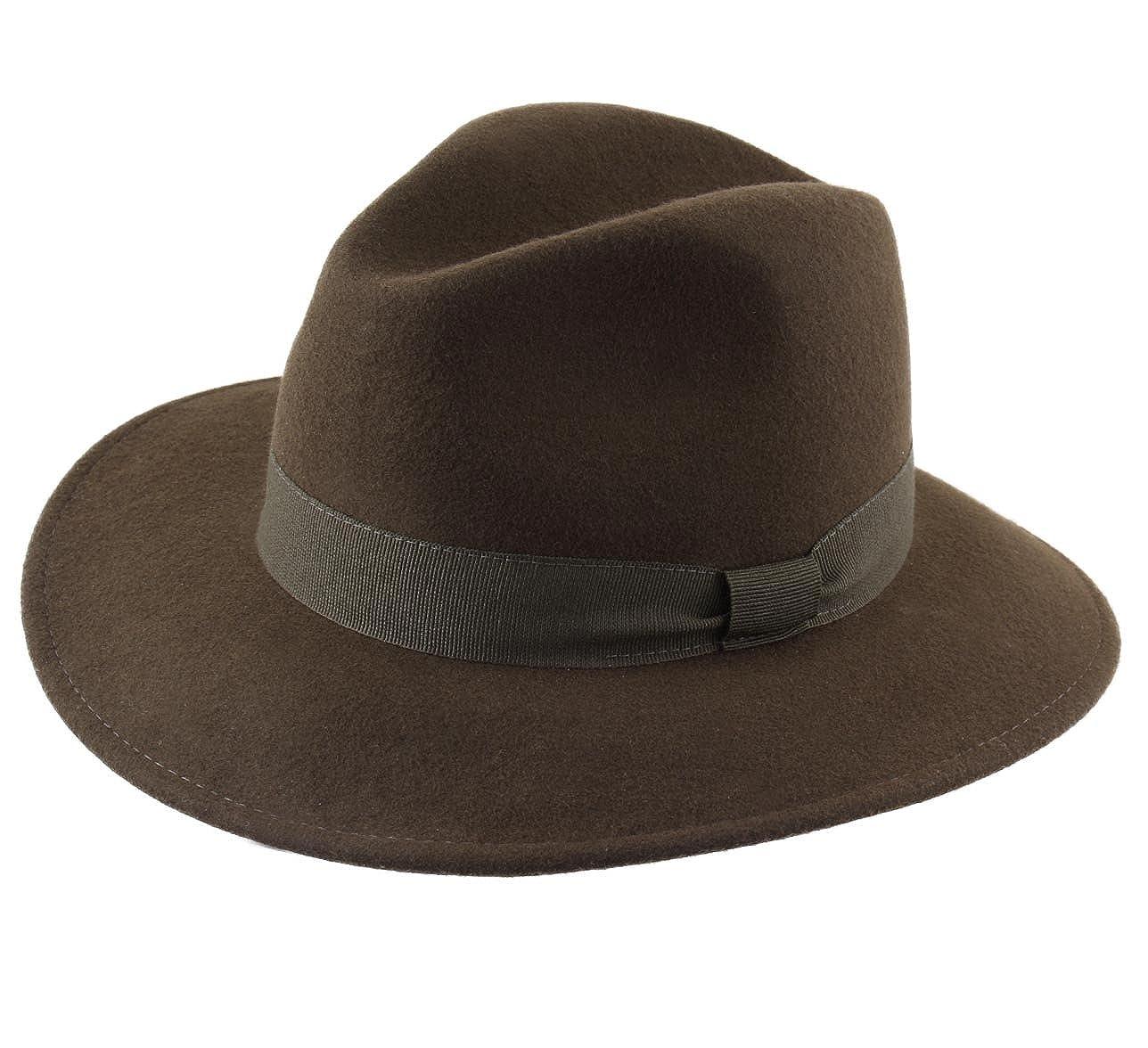 Modissima Traveller Cavalier Wool Felt Fedora Hat