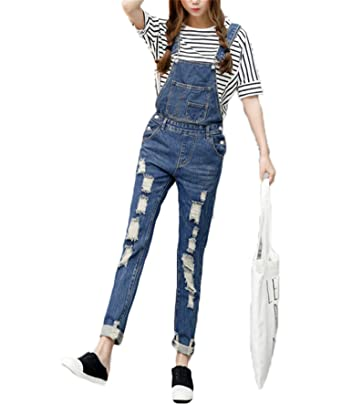 d4c7ee070a Amazon.com: Woodin Womens Jumpsuit Denim Overalls Casual Ripped Hole ...