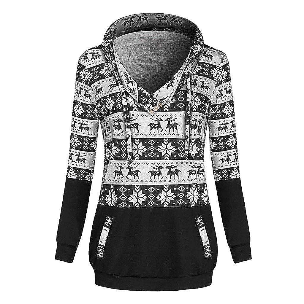 WUAI Women's Hoodie Sweatshirt Vintage Christmas Reindeer Snowflake Printed Cowl Neck Pockets Pullover Tops