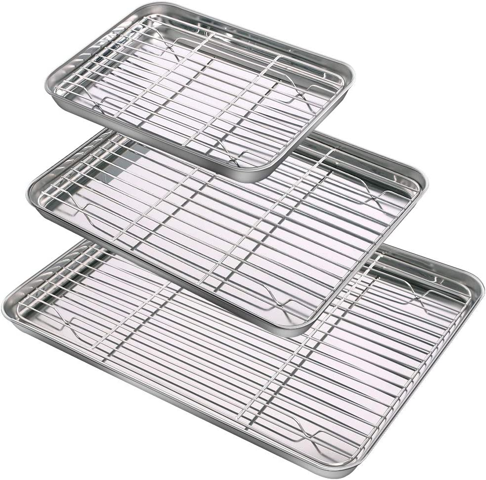 Baking Sheet & Rack Set (3 Sheets & 3 Racks), Durable Stainless Steel Baking Pans with Cooling Rack, Mirror Polished Cookie Pan with Rack Rust Free Baking Tray Dishwasher Safe