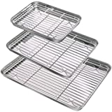 Baking Sheet & Rack Set (3 Sheets & 3 Racks), Durable Stainless Steel Baking Pans with Cooling Rack, Mirror Polished Cookie P