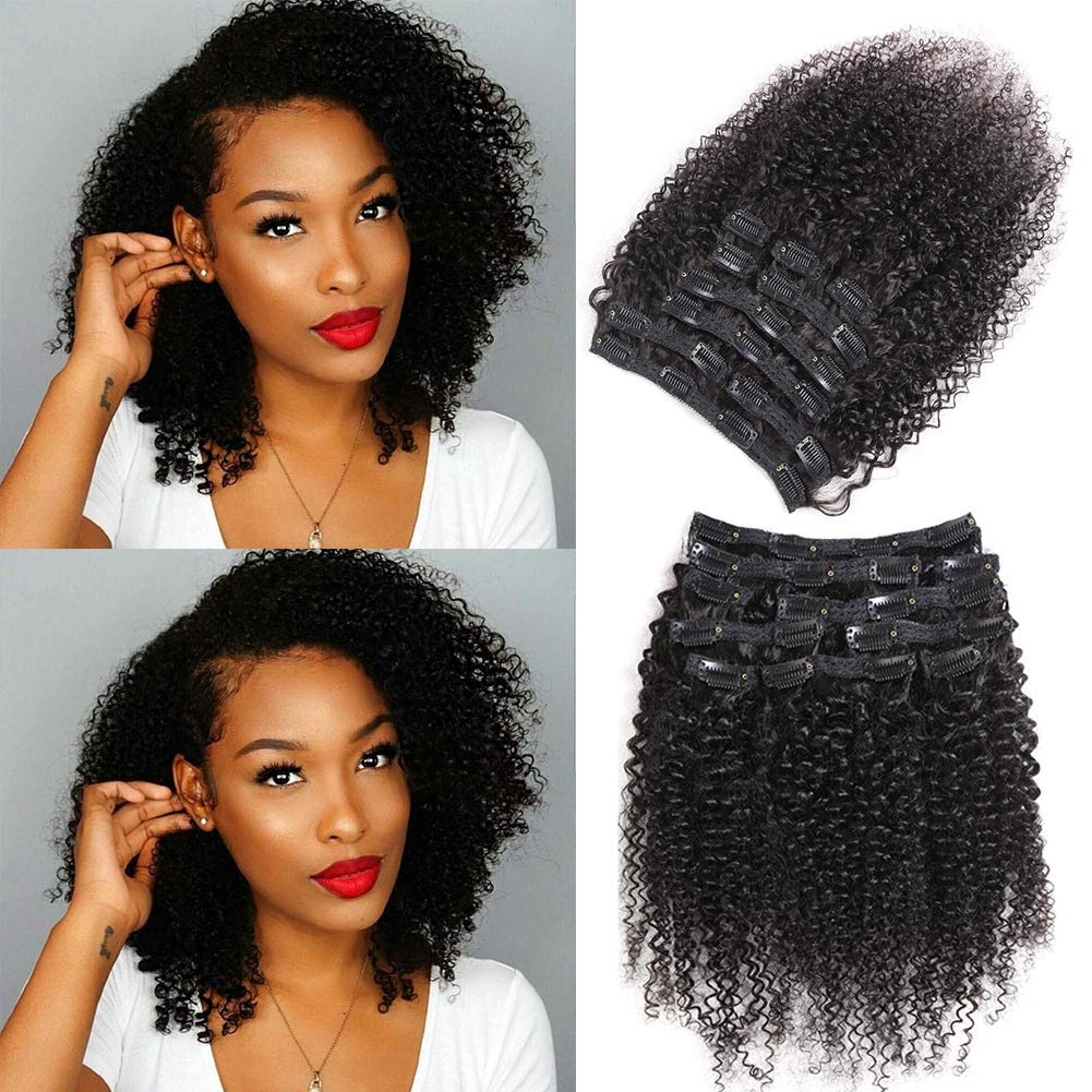 Urbeauty Kinkys Curly Clip in Human Hair Extensions for Black Women, 14 inch X2 Afro 3C 4A Curly clip ins Human Hair Extension 2 Set together 200gram/package