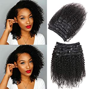 Urbeauty Afro Kinky Curly Clip in Human Hair Extensions for Black Women Triple Weft 16 inch 3B/3C African American Curly Clip in Hair Extensions
