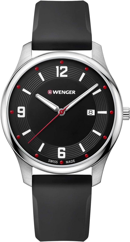 Wenger City Active, Reloj de Cuarzo Suizo, Acero Inoxidable y Silicona, para Hombre