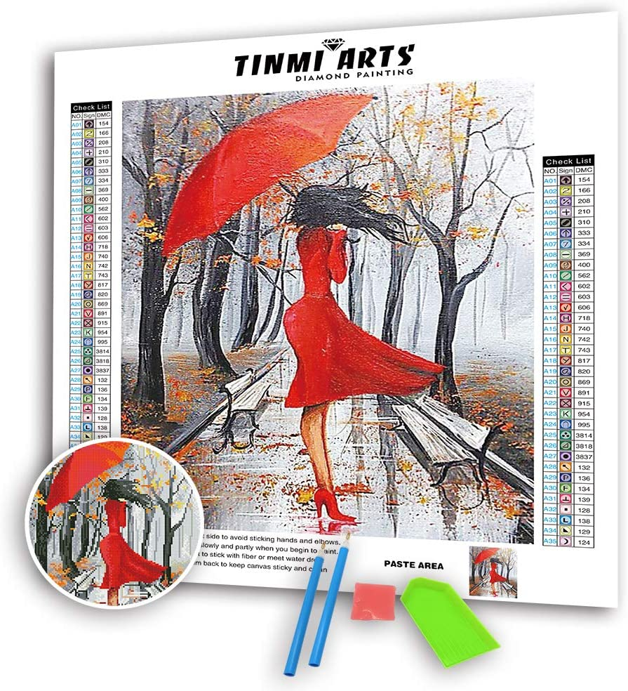 """TINMI ARTS-5D Diamond Painting Kits for Adults Full Round with AB Drills Mosaic Cross Stitch Kits Embroidery Kits Home Wall Decor[16""""x 20"""" Red-Clothed Girl]"""